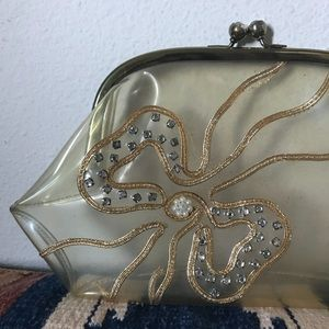 Vintage Bags - Clear Vintage Gold Ribbon Clutch